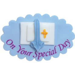 On Your Special Day Blue Sugar Plaque - Cake Decoration
