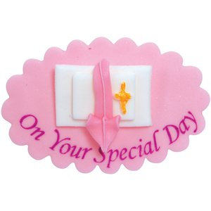 On Your Special Day Pink Sugar Plaque - Cake Decoration