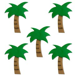 Tropical Palm Tree Sugar Cake Toppers - 5pk