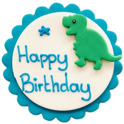 Dinosaur Happy Birthday Sugar Plaque - Cake Decoration