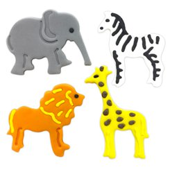 Jungle Animals Sugar Cake Toppers - 4pk
