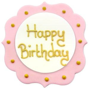 Pink Happy Birthday Sugar Plaque - Cake Decoration