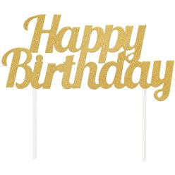 Happy Birthday Gold Glitter Cake Topper - 9cm x 18cm