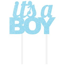 It's A Boy Blue Glitter Cake Topper - 18cm x 20cm