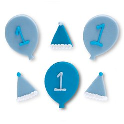 1st Birthday Blue Celebration Sugar Toppers