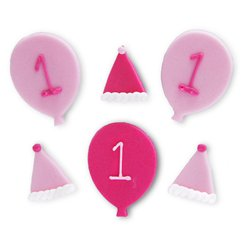 1st Birthday Celebration Sugar Cake Toppers - 6pk