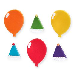 Balloon & Hat Sugar Cake Toppers - 6pk
