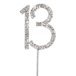 Number 13 Diamante Cake Pick
