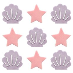 Iridescent Stars & Shells Sugar Toppers - Cake Decorations