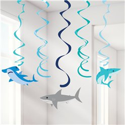 Shark Party Hanging Swirls