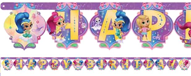 Shimmer & Shine Happy Birthday Letter Banner - 2m