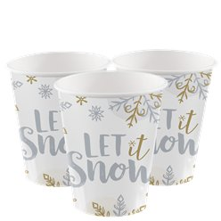 Let It Snow Paper Party Cups - 266ml
