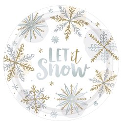 Let It Snow Metallic Plate - 26cm