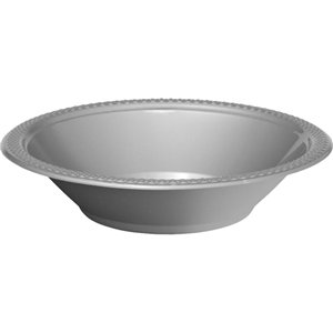 Silver Party Bowls - 355ml Plastic