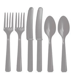 Silver Reuseable Plastic Cutlery - Assorted Party Pack