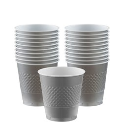 Silver Cups - 266ml Plastic Party Cups
