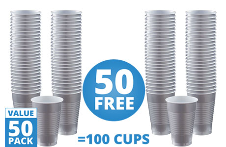 Silver Cups - 355ml Plastic Party Cups