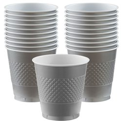 Silver Cups - 473ml Plastic Party Cups