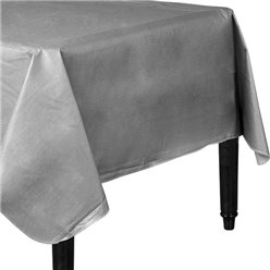 Silver Flannel-Backed Vinyl Tablecover - 1.3m x 2.2m