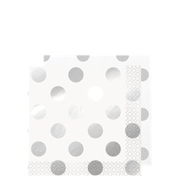 Metallic Silver Dot Beverage Paper Napkins - 25cm
