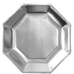 Silver Metallic Octagon Paper Plates - 23cm