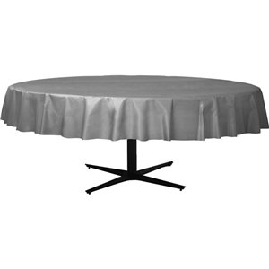 Silver Round Plastic Tablecover - 2.1m