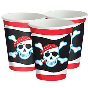 Pirate Skull Cups - 266ml Paper Party Cups
