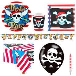 Pirate Skull Party Pack - Deluxe Pack for 8