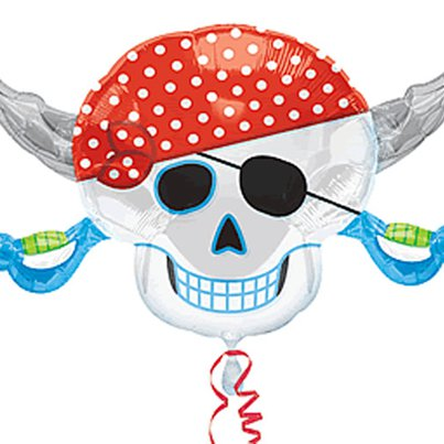 "Pirate Birthday Supershape Skull Balloon - 28"" Foil"