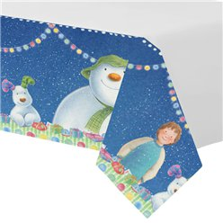 Snowman and Snowdog Plastic Tablecover - 1.37m x 2.74m
