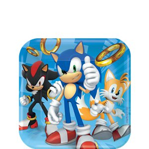 Sonic The Hedgehog Square Dessert Plates - 18cm Paper Plates