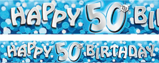 Age 50 Blue Birthday Banner - 2.7m