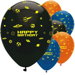 "Space Blast Party Balloons - 12"" Printed Latex"