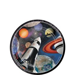 Space Blast Party Dessert Plates - 18cm Paper Plates