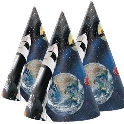 Space Blast Party Hats - Childrens Cone Hats