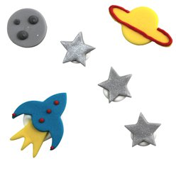 Space Blast Party Cake Decorations - Sugar Decorations