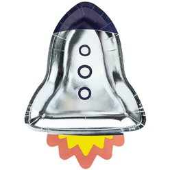 Rocket Ship Shaped Foil Plates - 29.5cm