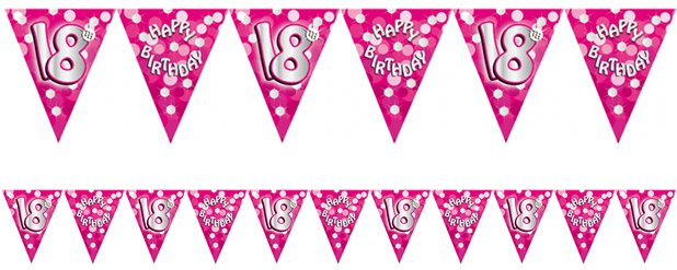 Age 18 Pink Birthday Bunting - 4m
