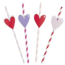 Sparkling Hearts Striped Paper Straws With Heart Die Cut