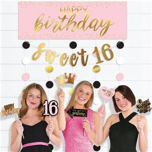 Glitter Gold & Pink Sweet 16 Photo Booth Kit
