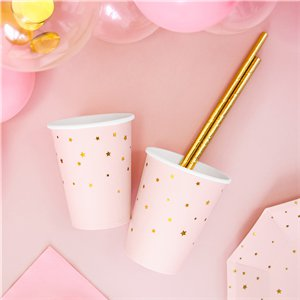 Little Star Pastel Pink Paper Cups - 260ml