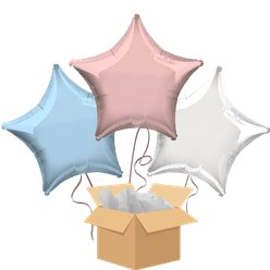 Pastel Stars Balloon Bouquet - Delivered Inflated