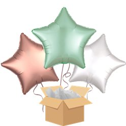 Satin Mint & Rose Gold Stars Balloon Bouquet - Delivered Inflated