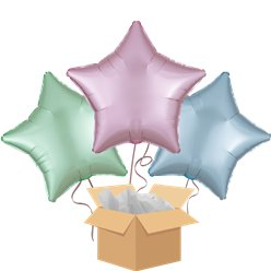 Satin Pastel Stars Balloon Bouquet - Delivered Inflated