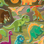 Dinosaur Puffy Stickers