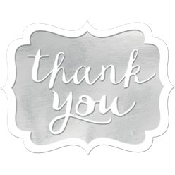 Silver Thank You Stickers