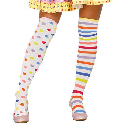 Striped & Dotted Stockings - Circus Clown Fancy Dress Costume Accessories front