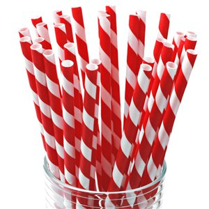 Red Stripe Paper Straws