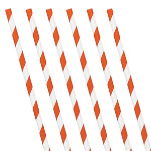 Orange Peel Stripe Paper Straws