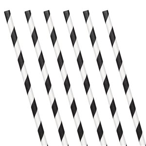 Black Stripe Paper Straws